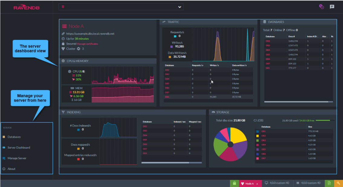 RavenDB server dashboard