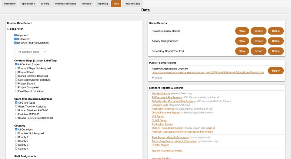 Custom Data Report