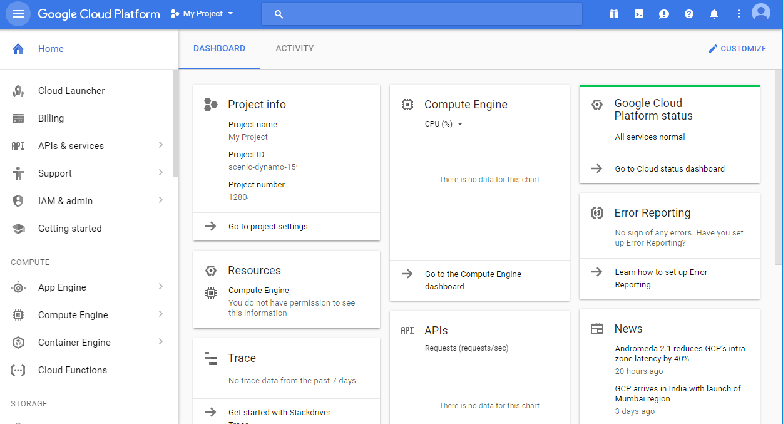 Google Cloud Platform Software - Google Cloud Platform project information
