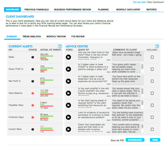 The Panalitix client dashboard includes advice for users, including suggested comments to make to clients