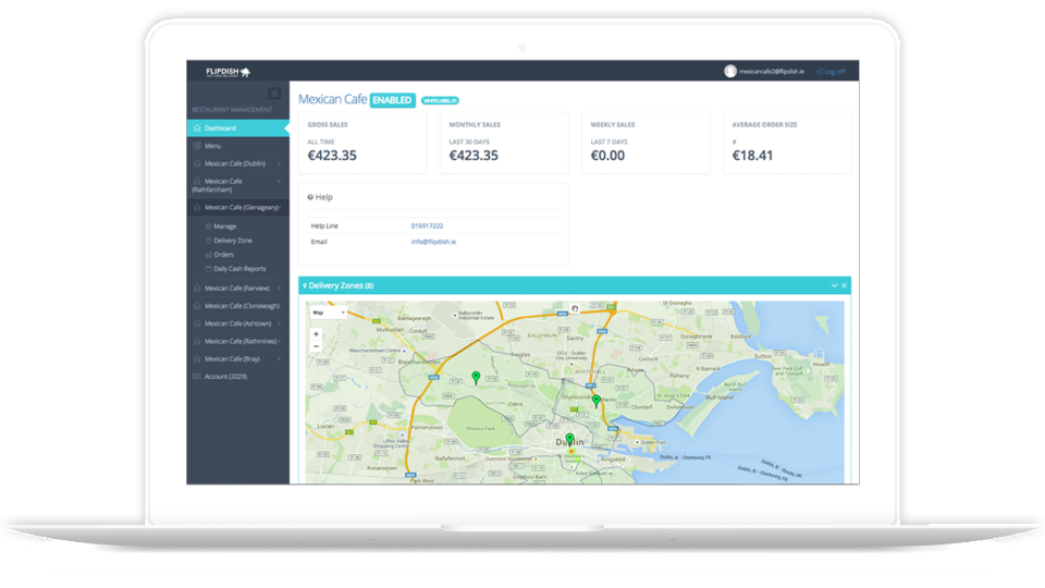 The dashboard gives users an overview of performance for individual and multiple locations