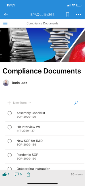 BPAQuality365 Software - Accessing compliance documents with a phone.