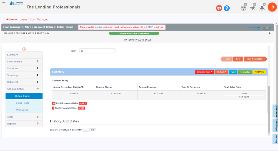 Access account setup terms to view annual percentage rates, finance charges, and more