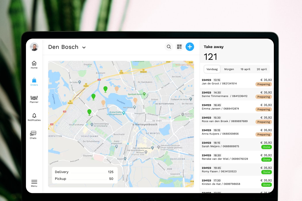 The Eatcard dashboard. Overview of delivery and takeaway orders coming from own Eatcard webshop and delivery partners (integration). Restaurant management in the cloud - no more lost tickets or paperwork.