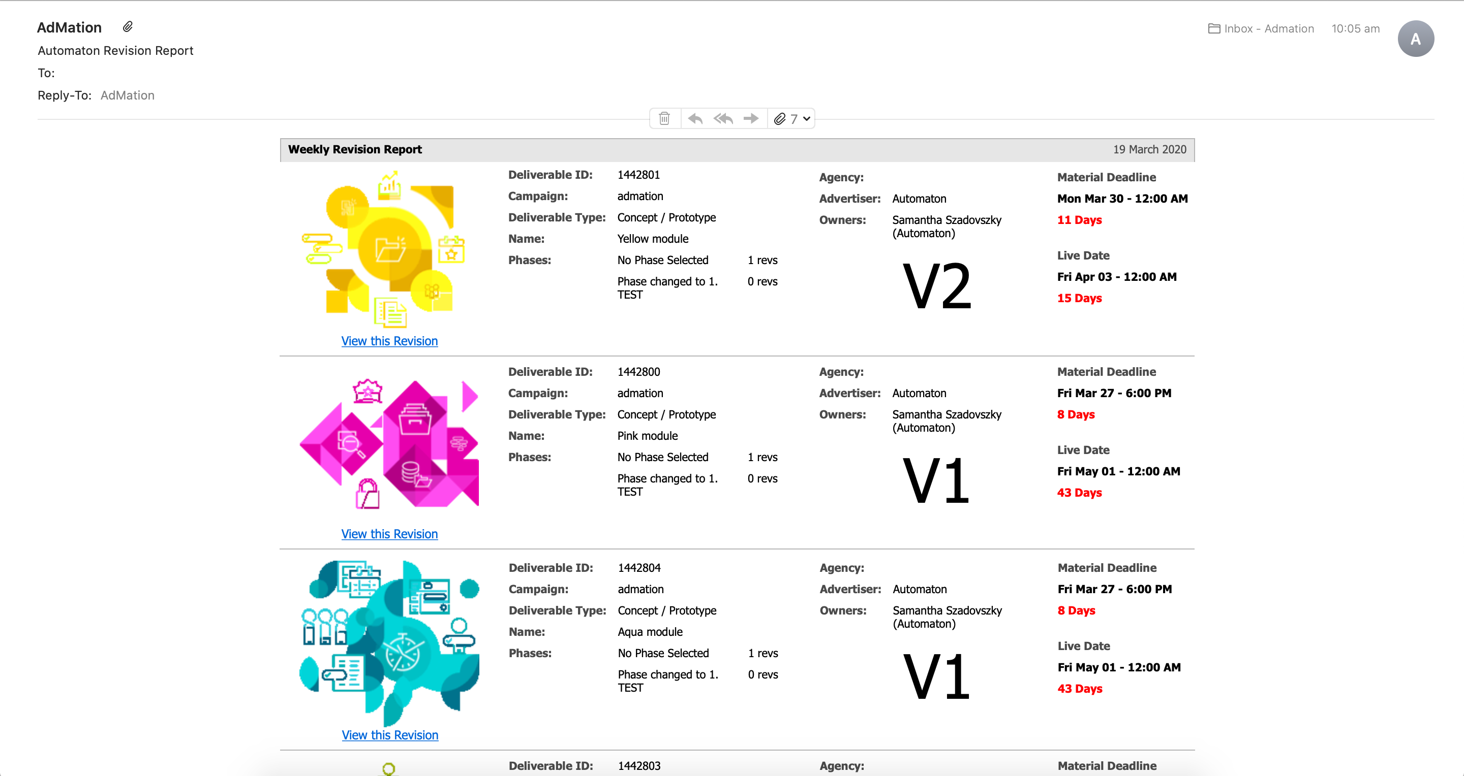 A daily or weekly revision report helps management keep on top of revision counts in a quick snapshot view.