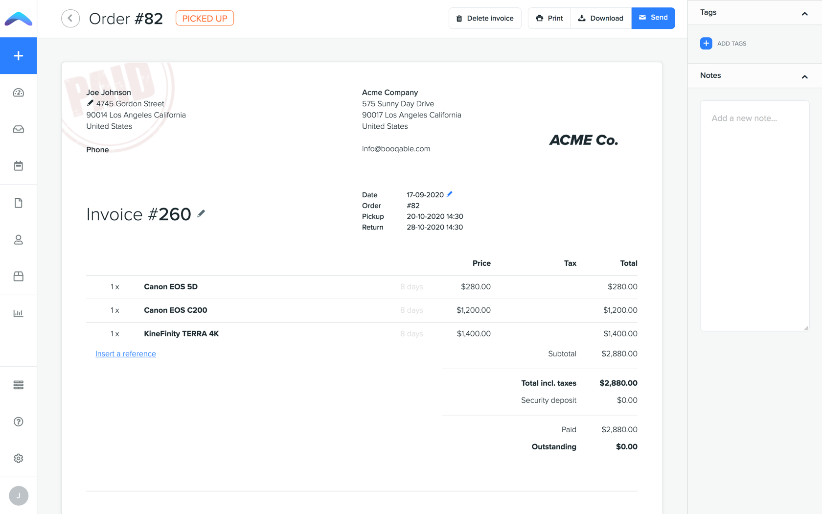 Generate customizable quotes, contracts, and invoices. Send them to customers directly from Booqable using email templates.