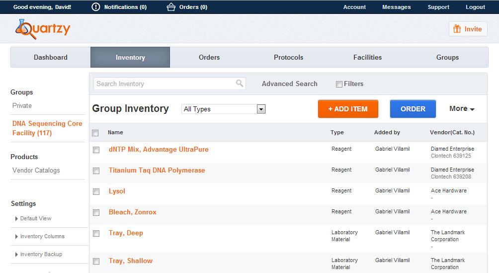 Quartzy inventory management