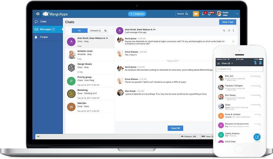 MangoApps Enterprise Messaging allows you to Instantly reach everyone in your company, whether you are in the office or out in the field. It works on both your desktop computer and mobile phone making office communication easy and fast.