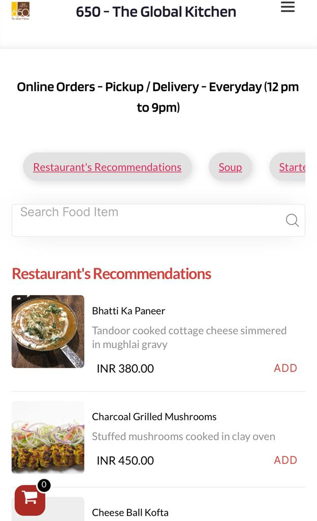 Grubly online menus