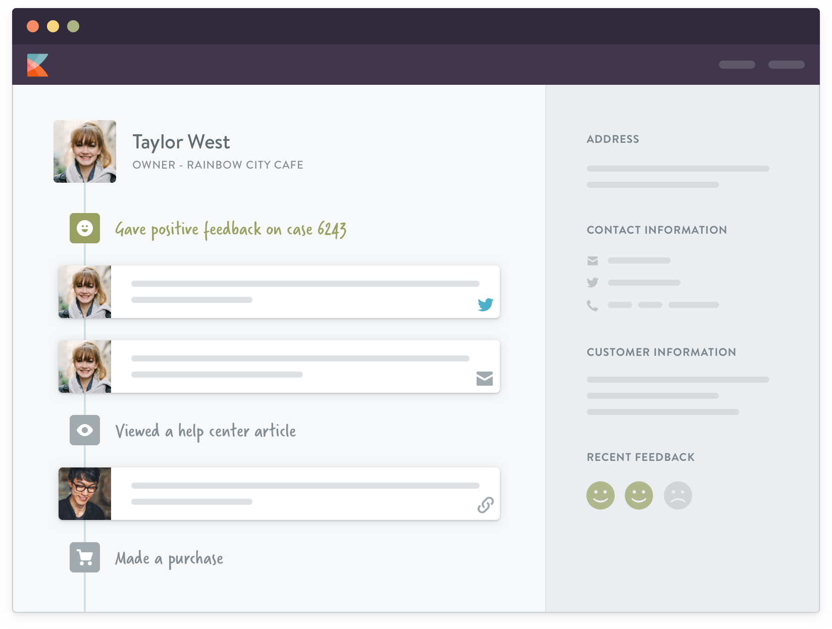 Kayako screenshot: Unified cases: see each customer's information in the context of the conversation to get more personal.
