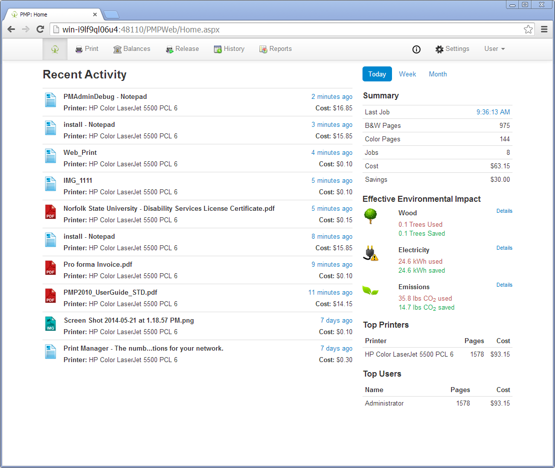 Print Manager Plus Software - Print Manager Plus activity monitoring