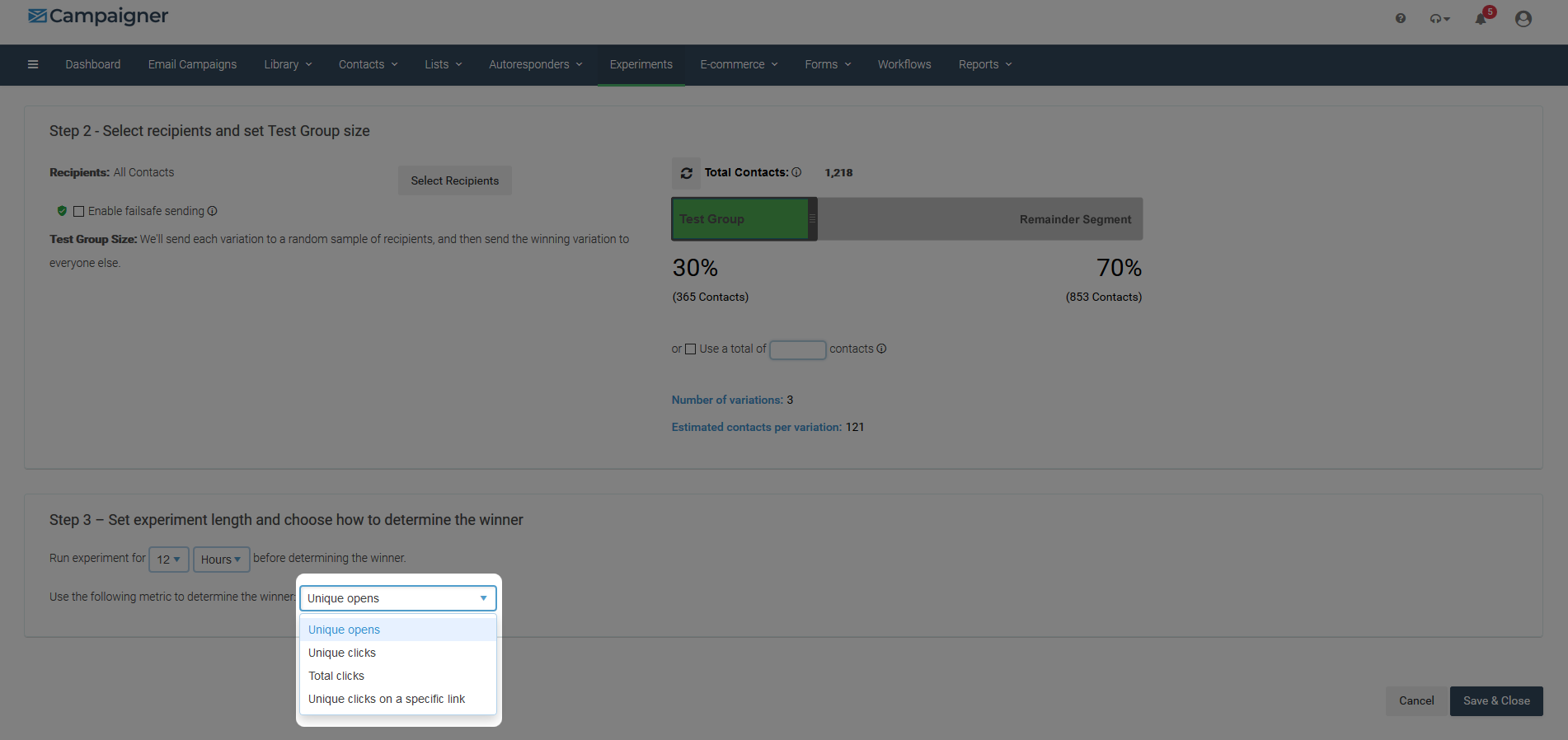 Campaigner Software - Campaigner A/B testing