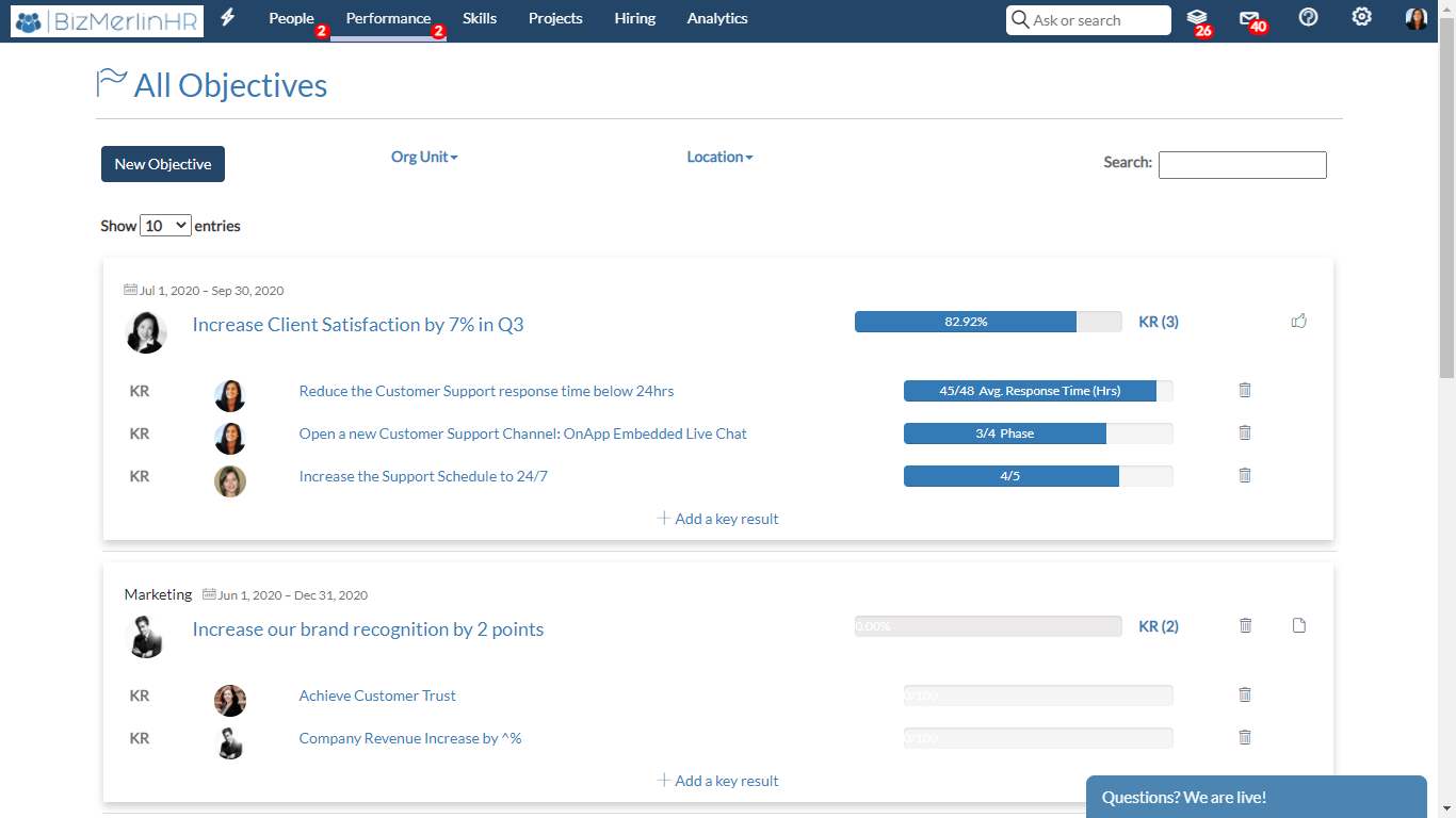 BizMerlinHR Software - Objectives and Key Results