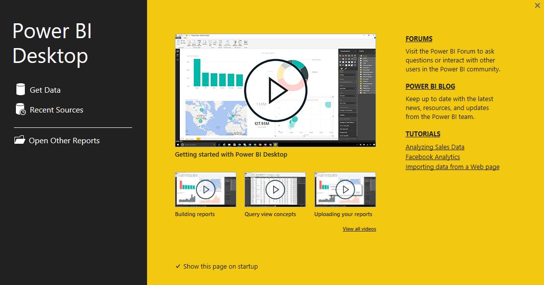 Power BI Desktop Welcome screen