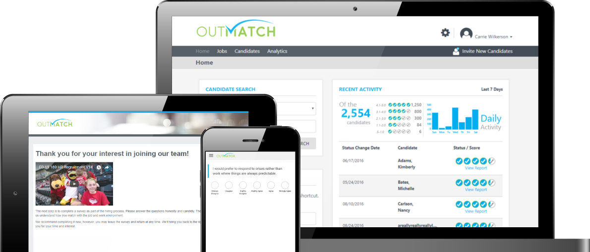 OutMatch is a cloud-based solution optimized for deployment across all internet-enabled devices, providing features for the hiring and development of employees