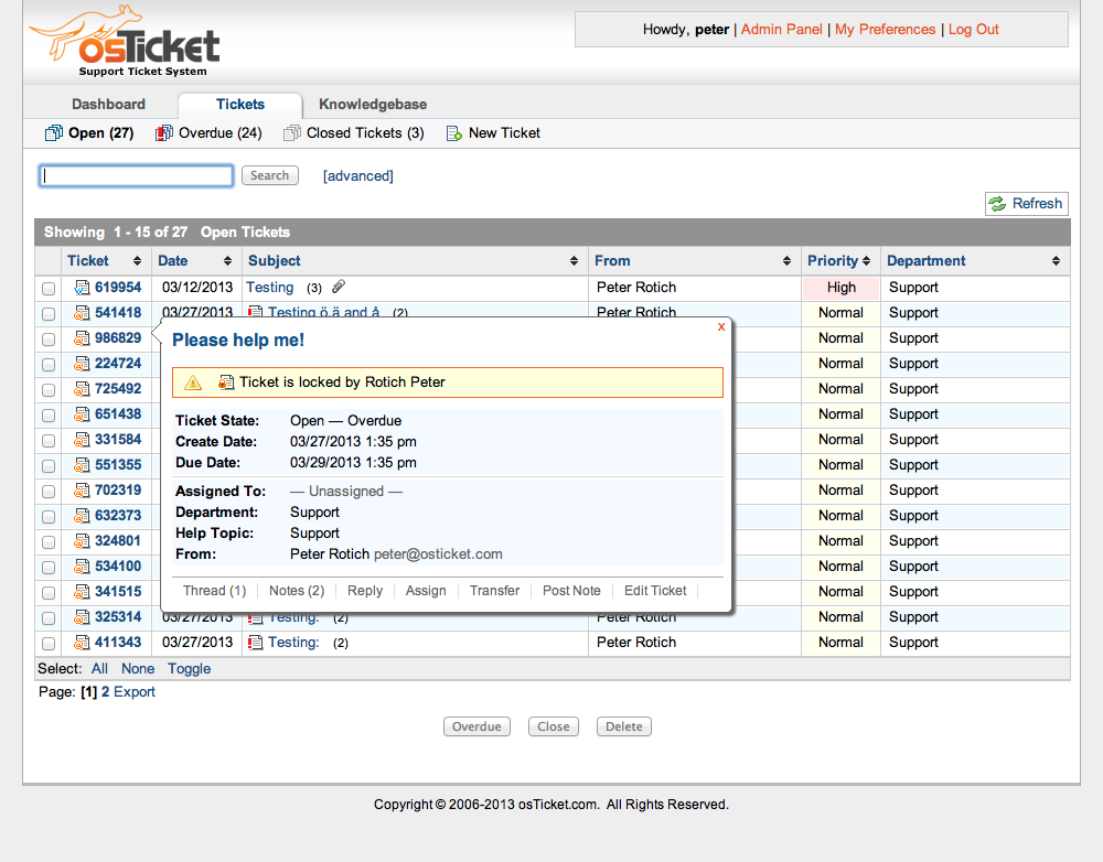 osTicket managing overdue tickets