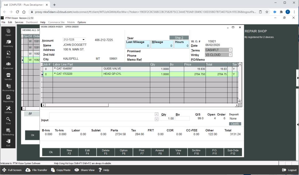 PTM-Vision work orders