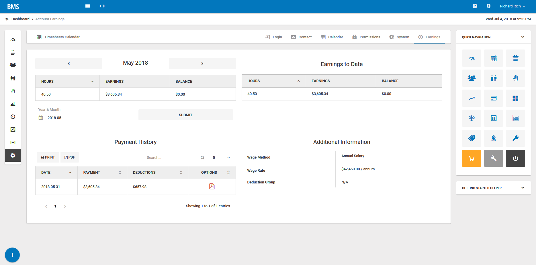 Timesheets can be managed within Bizstim and management can set up payroll based on hourly and annual salary rates