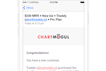 ChartMogul screenshot: ChartMogul automatically notifies users of new customers and updates to their dashboard