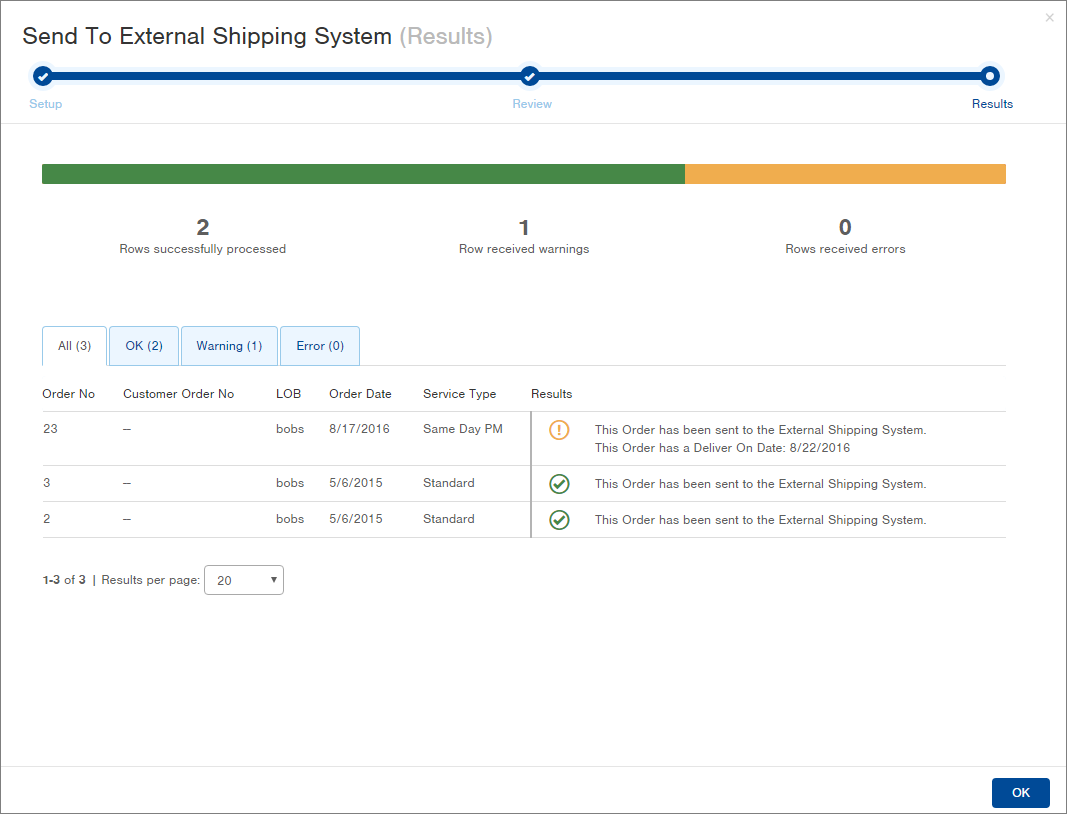 Orders can be sent to external shipping systems