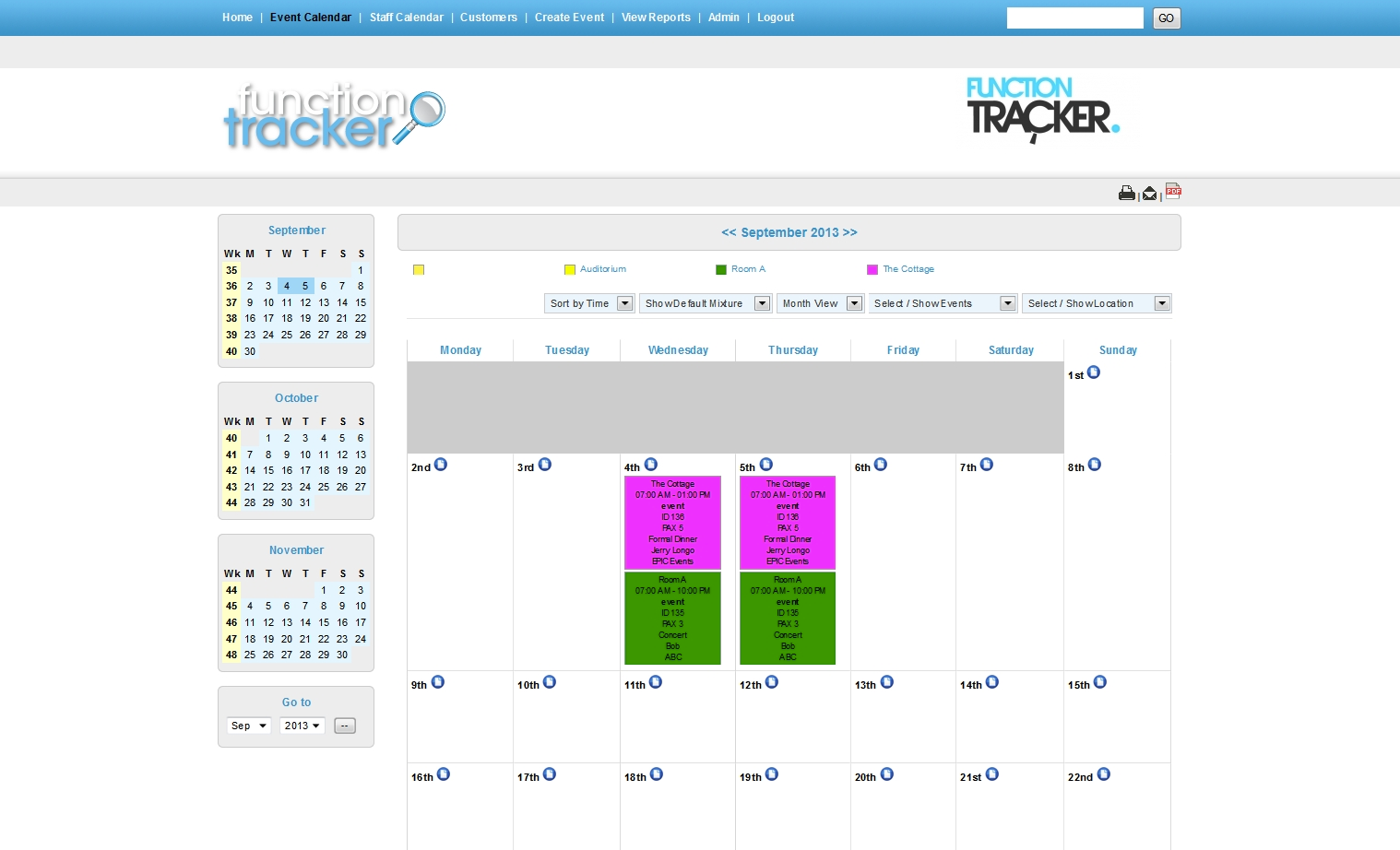 View & print calendar in daily, weekly, monthly or agenda view