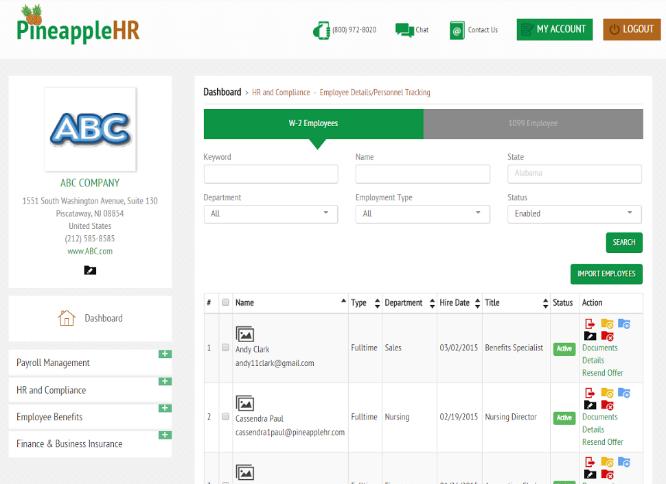 PineappleHR Software - Employee CRM/Personnel Tracking