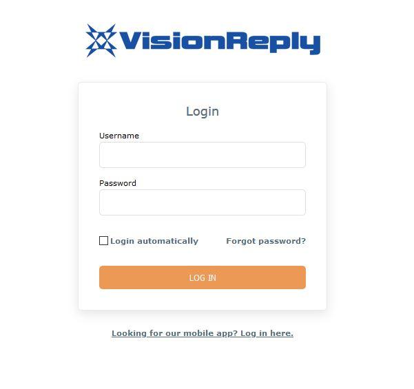 VisionReply login page
