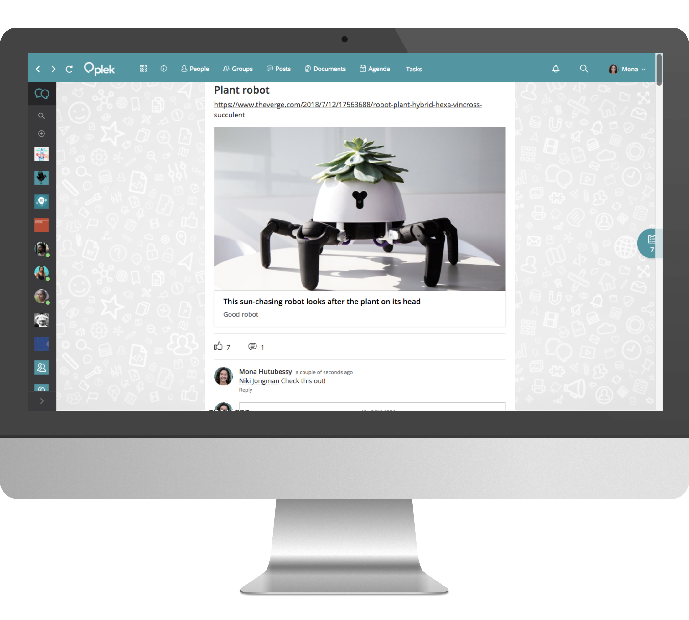 Publish a post, comment on other people's posts or tag a colleague to ask for their opinion.
