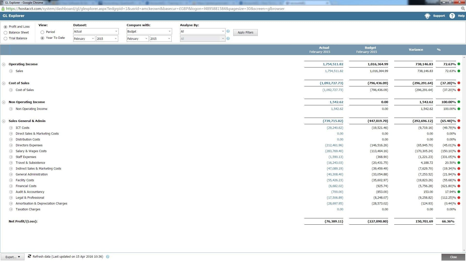 AccountsIQ Software - GL explorer