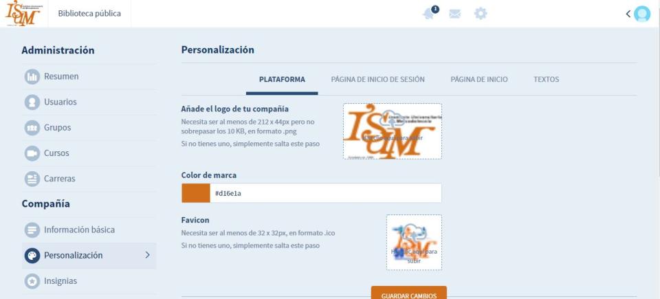 Teachlr Organizations Software - Customization Page