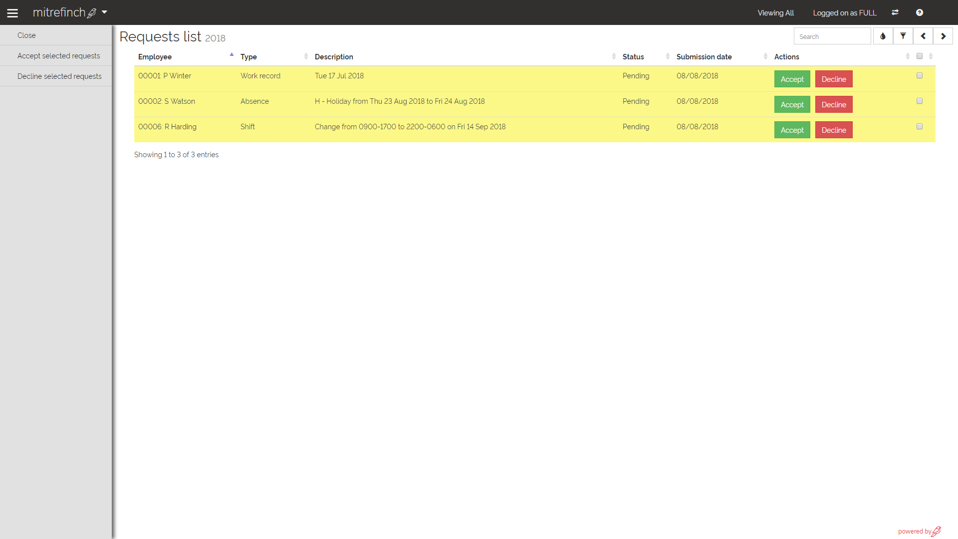 Mitrefinch Software - Requests screen for manager