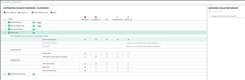 FortiEDR automated incident response - playbooks