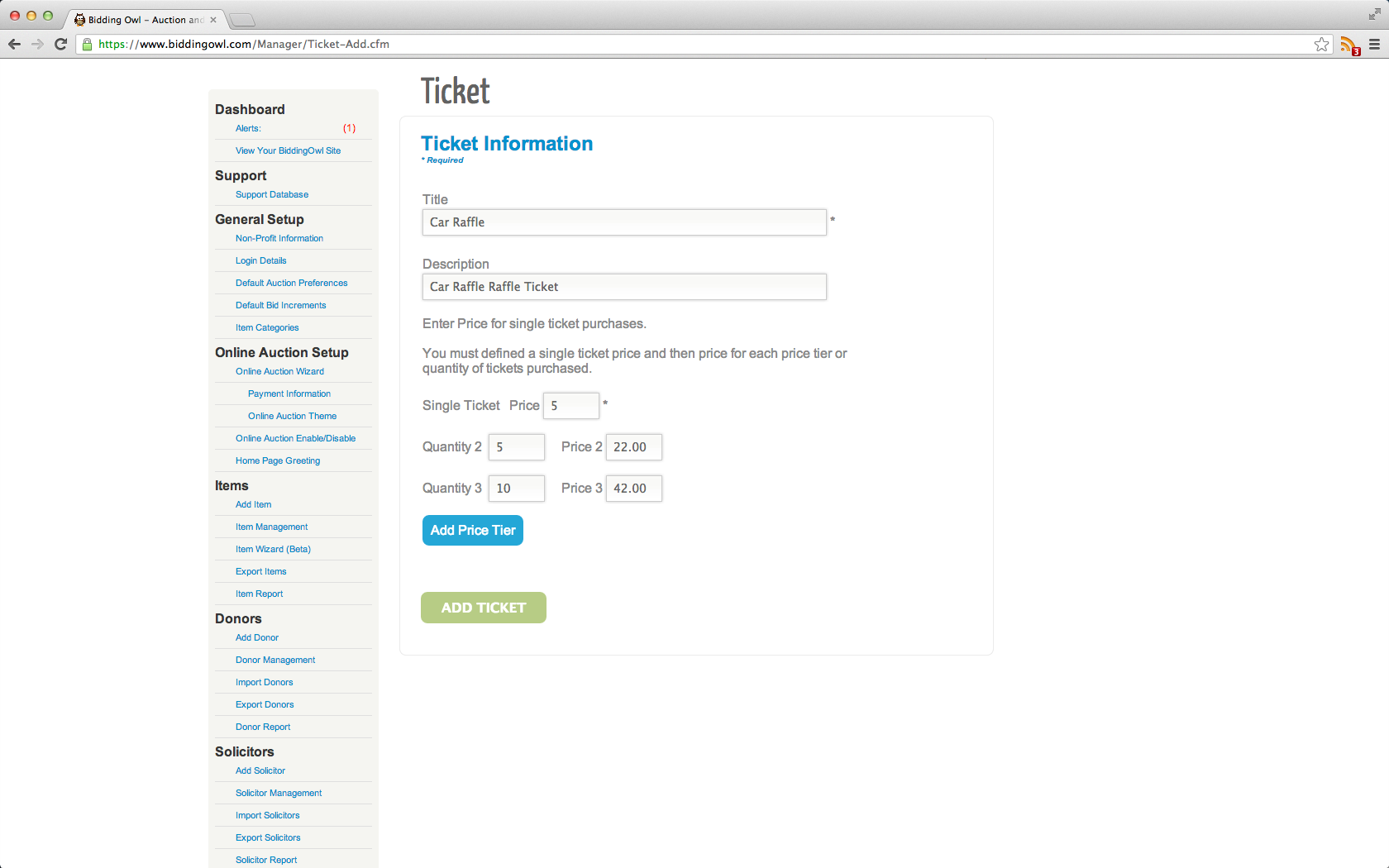 BiddingOwl ticket information