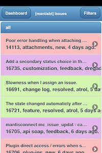 A color-coded view of all logged and listed issues pertaining to a selected project, as shown within the MantisTouch web app for mobiles