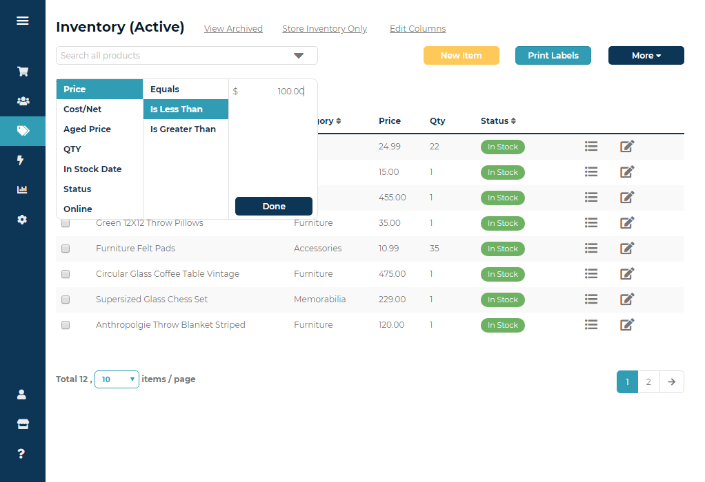 Ricochet screenshot: Filter and search your store's inventory with custom fields.