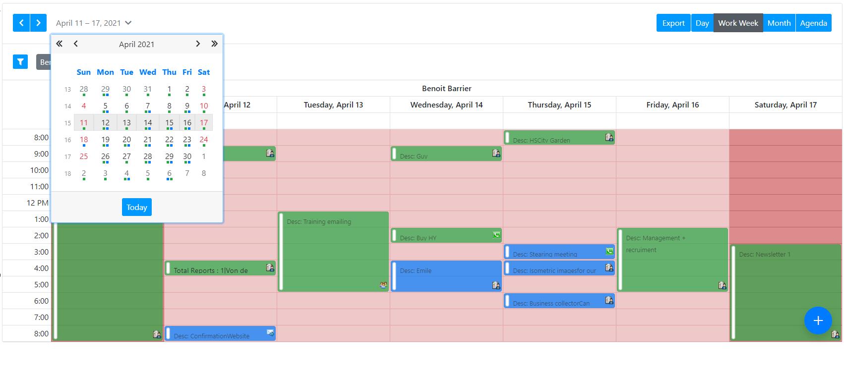 AtemisCloud Software - Working calendar
