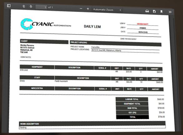 Cyanic Job Book Software - Cyanic Job Book generating invoices