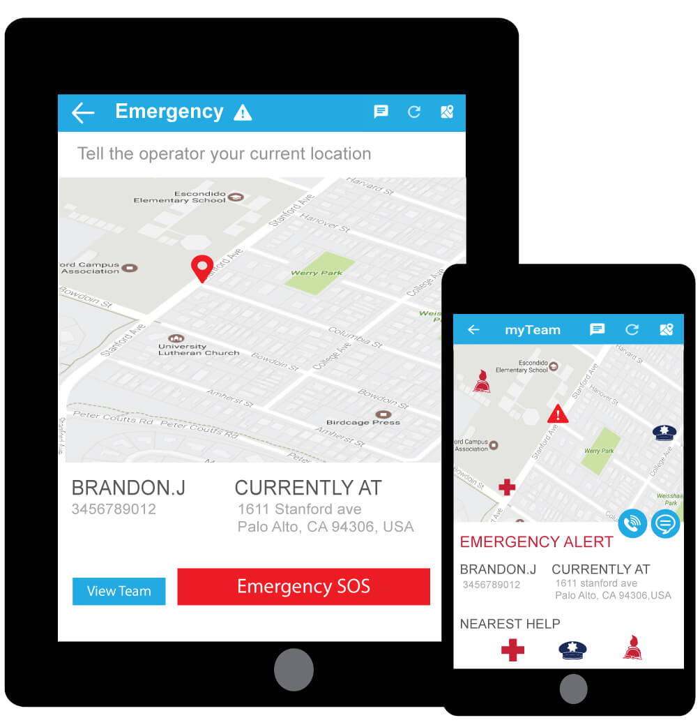 Field workers are able to trigger emergency alerts and managers are informed in real time