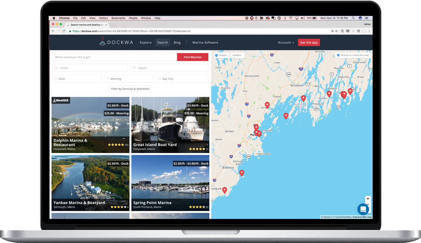 Reviews from Marinas.com are integrated with online booking functionality