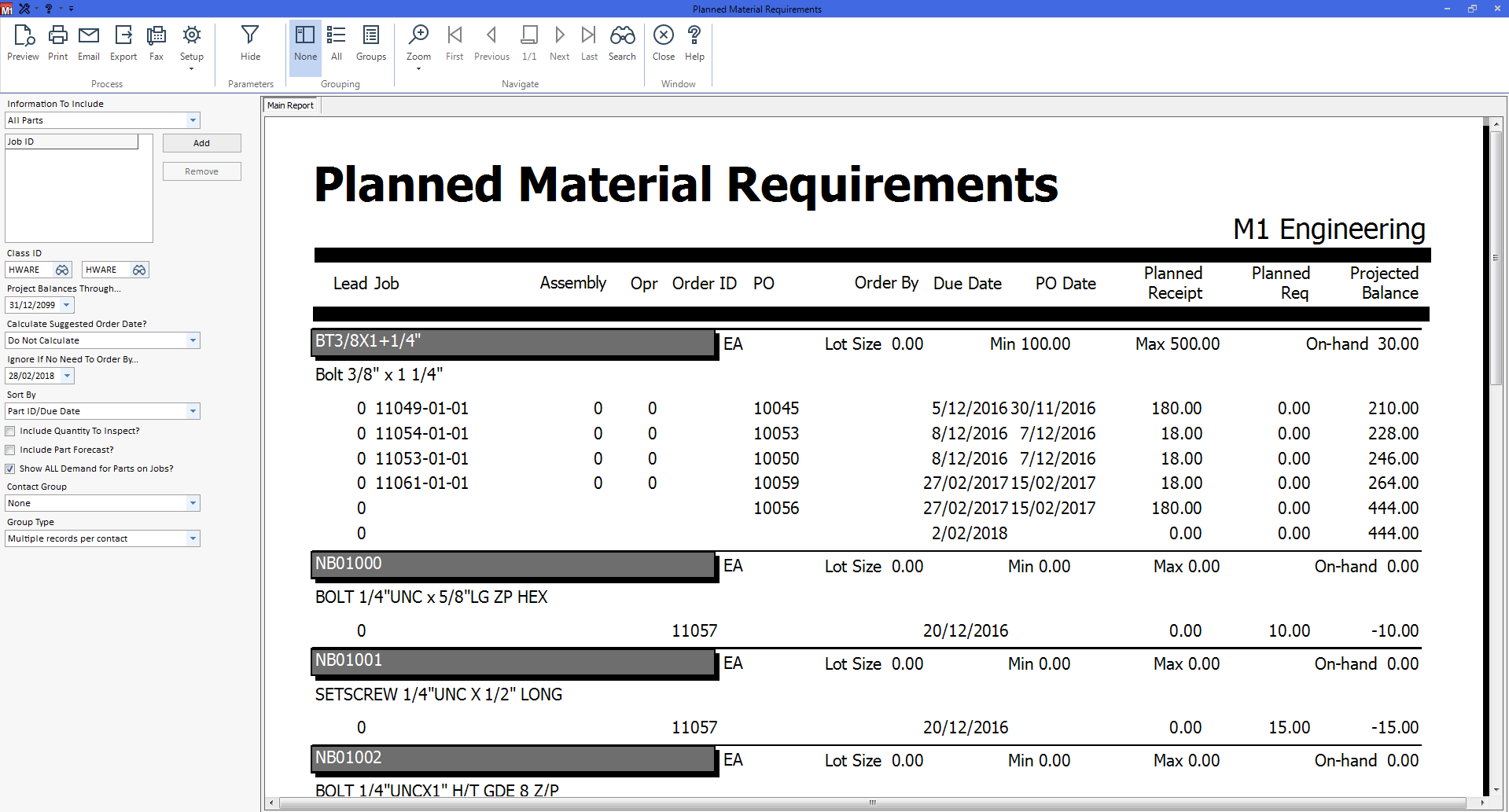 M1 ERP Software - M1 reports