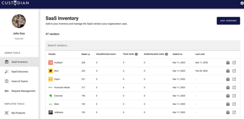Custodian SaaS inventory