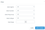 Nectar Desk screenshot: Data can be filtered by agents, ring groups, call types, and more