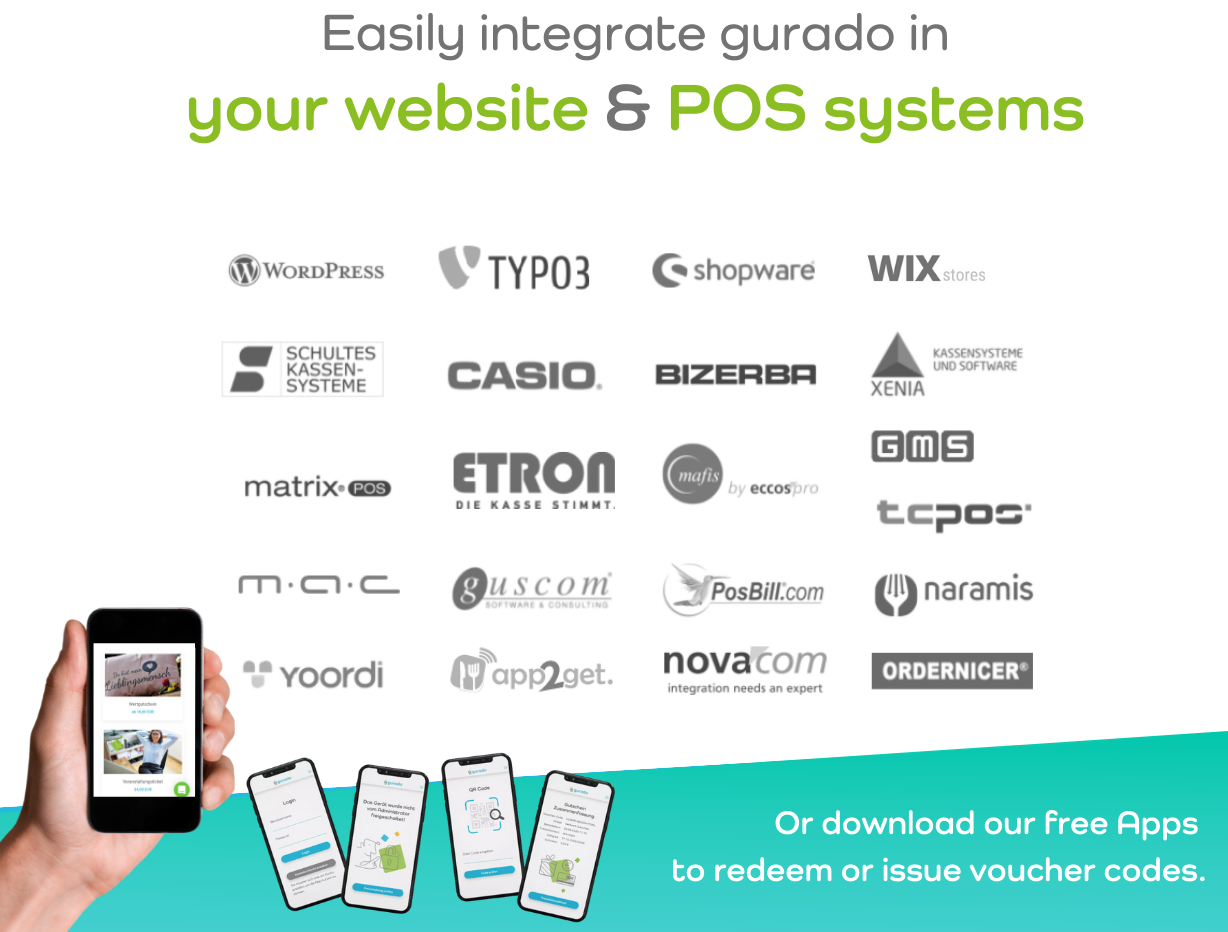 Easily integrate gurado in your existing website design by downloading one of our existing PlugIns or ask your POS provider about an integration to gurado.