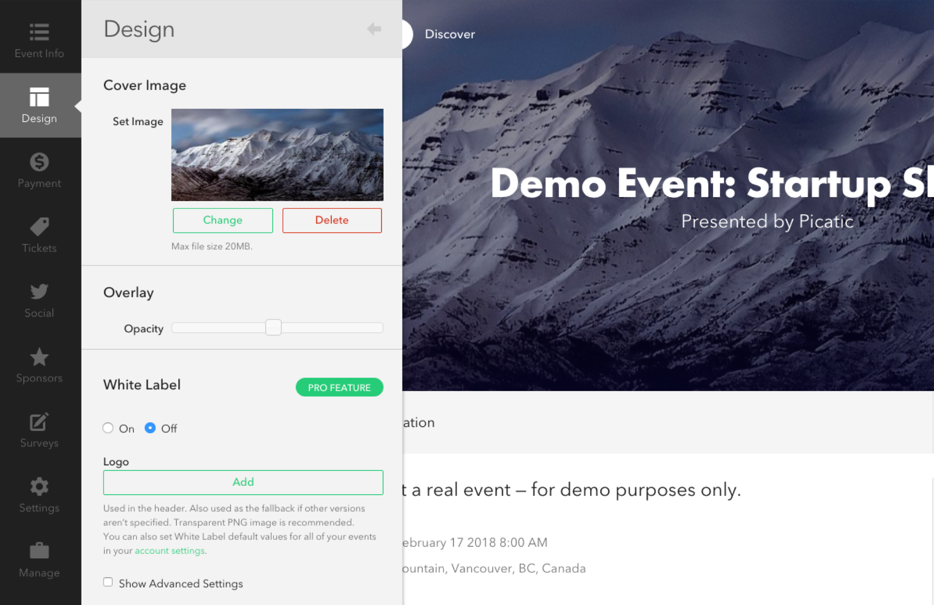 Picatic Event Creator. Build your event page and see the changes in realtime.