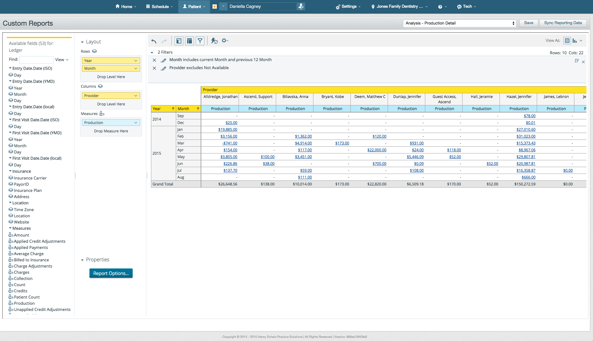Dentrix Ascend offers users a drag-and-drop interface for custom report creation