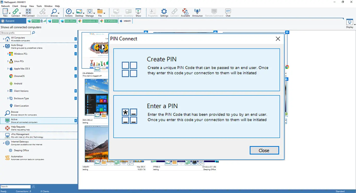 NetSupport Manager Software - NetSupport Manager PIN Connect - Locate a user anywhere across the enterprise instantly, simply by both parties entering a matching and unique PIN code.