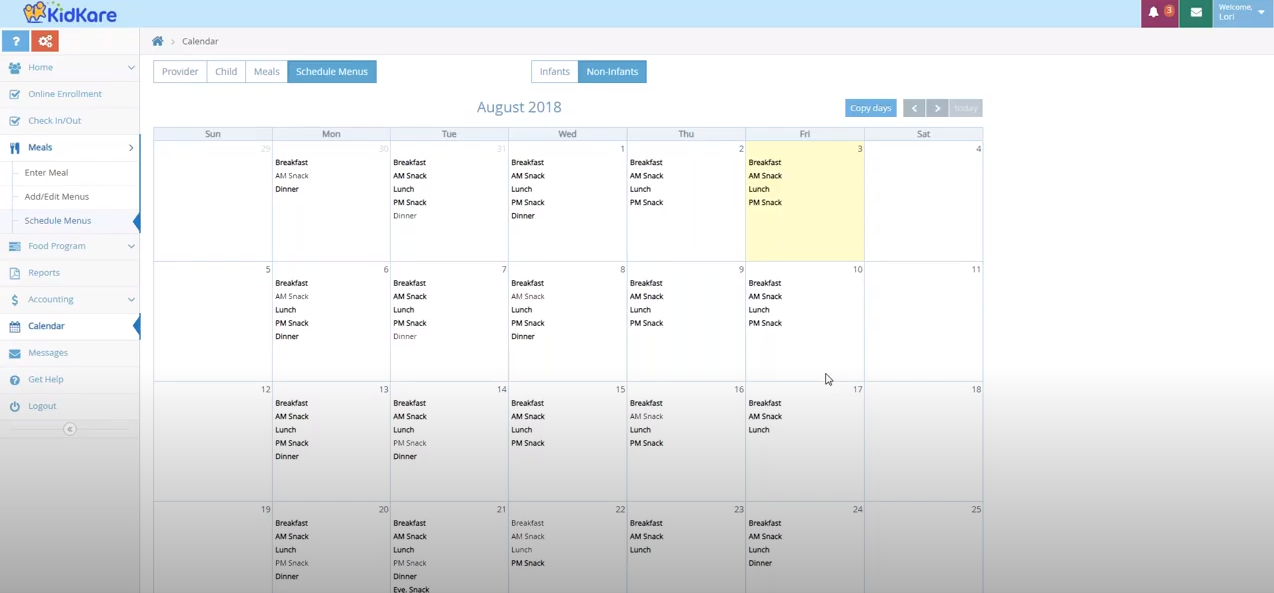 KidKare meal scheduling