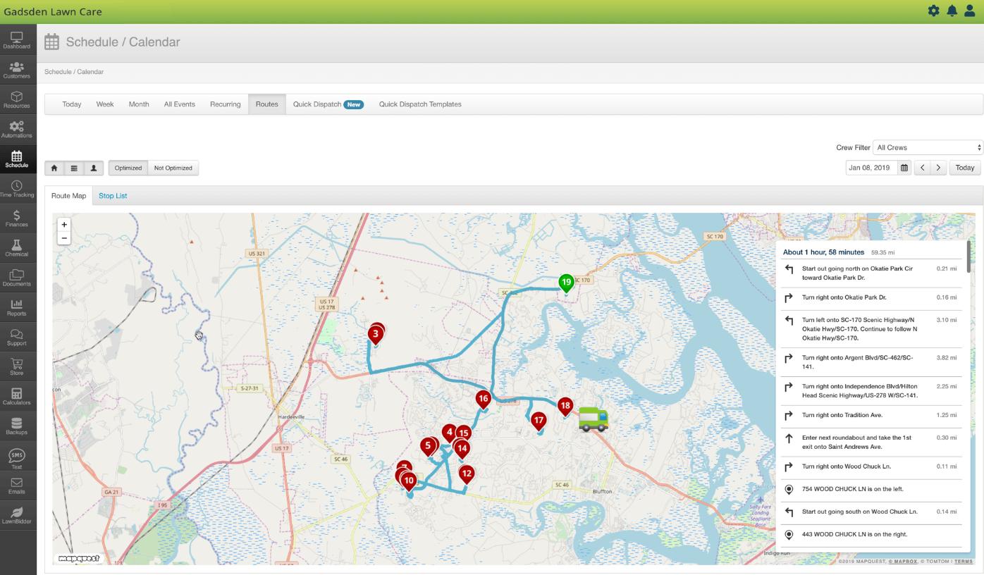 LawnPro map job routes