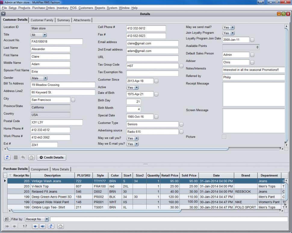 MultiFlex RMS Software - Customer CRM Detail POS Summary