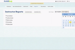 ClassBug screenshot: Instructor reports can be viewed per date and instructor selected and then printed or downloaded.
